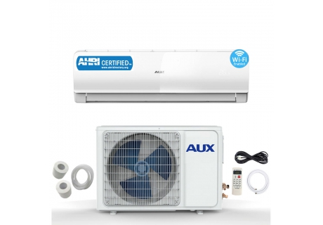 AUX 12000 BTU Ductless Air Conditioner Heat Pump MINI Split 1TON 115V WiFi Control 17 SEER 12 Ft Flared Copper Tubing
