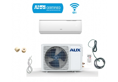 AUX 24000 BTU Ductless Air Conditioner Heat Pump MINI Split 2 TON 230V 17 SEER 12 ft Line set WiFi Control