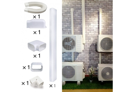 6.5 Ft L Decorative PVC AC Line Set Cover Tubing Kit for Central Air Conditioner, Heat Pump, Ductless Mini Split